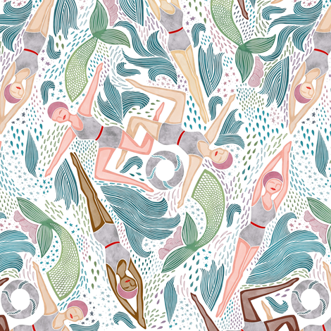 Small Scale Synchronized Swimmers fabric by landpenguin on Spoonflower - custom fabric