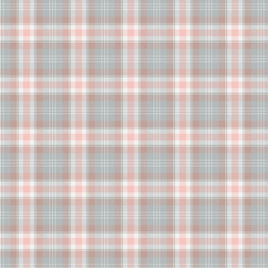 Grey and pink plaid.