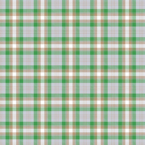 Green and brown plaid.
