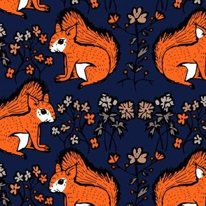 squirrel motif bold blue