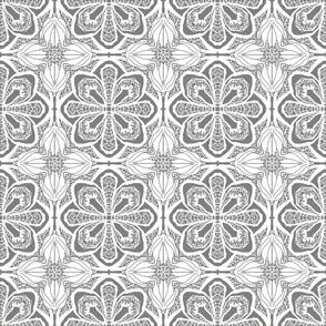 Lacy Flowers, Gray Sparkle, Medium