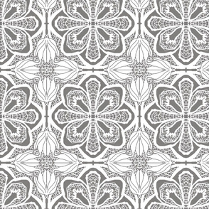 Lacy Flowers, Gray Sparkle, Large