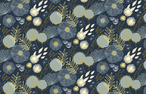Spring Floral M+M Navy Black by Friztin fabric by friztin on Spoonflower - custom fabric