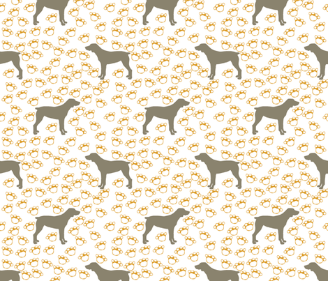 Big Grey Weimaraner Dogs with Yellow Paw Prints fabric by paper_and_frill on Spoonflower - custom fabric