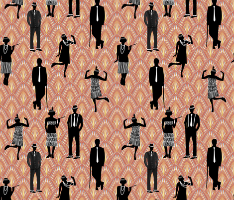 night at the speakeasy fabric by groundnut_apiary on Spoonflower - custom fabric