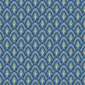 art deco palm fans on aquamarine blue