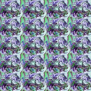 BNS6 - Tiny Marbled Mystery Swirls in Blue - Green - Purple - Lavender