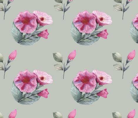Watercolor hand drawing of petunia flowers fabric by katrinkastem on Spoonflower - custom fabric