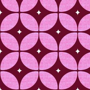 1950s starburst // Mid Century Atomic burgundy  floral geo large