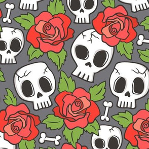 Skulls and Roses Red on Dark Grey