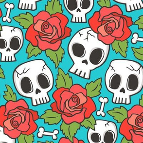 Skulls and Roses Red on Blue