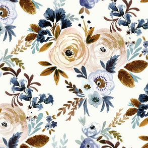 Victoria Floral blue brown