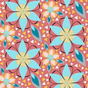 Large Floral Print for Summer with Triangle Inlay in Aqua, Yellow, Pink, Black