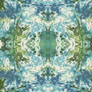 Mock Floral Blue and Green Ikat 2