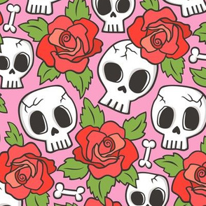 Skulls and Roses Red on Pink