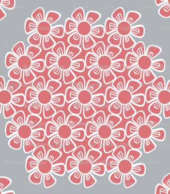 Gray and Pink Flower Hexagons for Nursery Crib Bedding