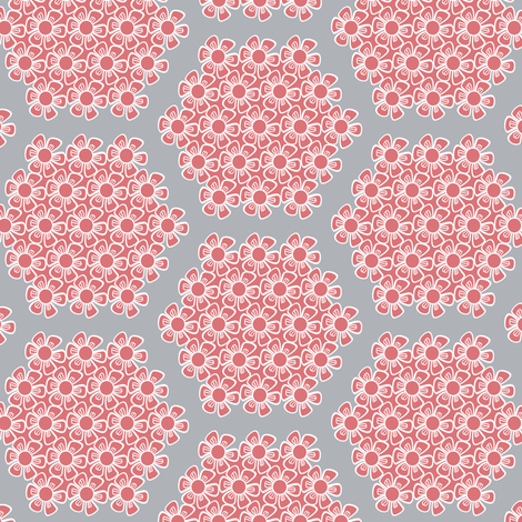 Gray and Pink Flower Hexagons for Nursery Crib Bedding fabric by amborela on Spoonflower - custom fabric