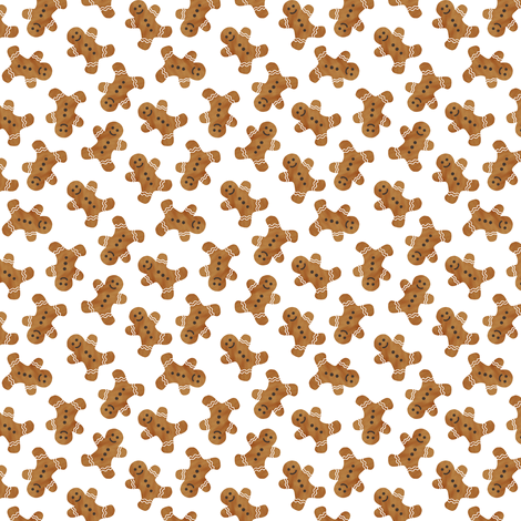 """(3/4"""" scale) gingerbread man cookie toss - white C18BS fabric by littlearrowdesign on Spoonflower - custom fabric"""