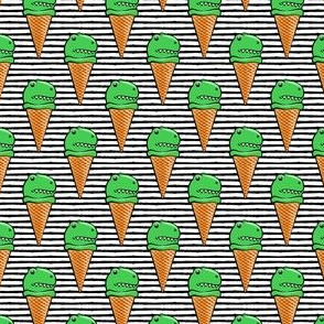 (small scale) trex icecream cones - dinosaur icecream - black stripes C18BS