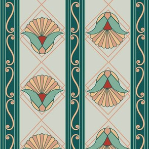 1920s Art Deco Stripe Green
