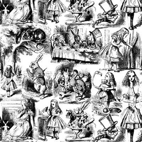 Alice in Wonderland | Toile de Jouy | Black and White