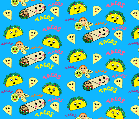 Kawaii Tacos fabric by hobbitrosie on Spoonflower - custom fabric