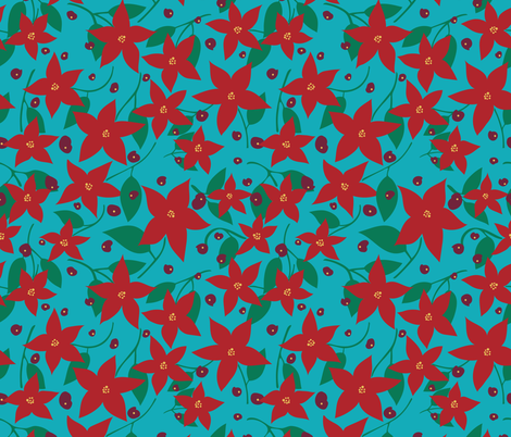 Christmas RED Blooms fabric by jezpokili on Spoonflower - custom fabric
