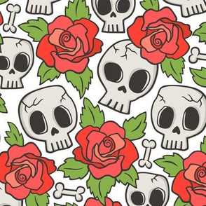Skulls and Roses Red on White