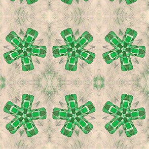 Quilted Green Propellers on Beige