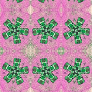 Quilted Green Propellers on Pink