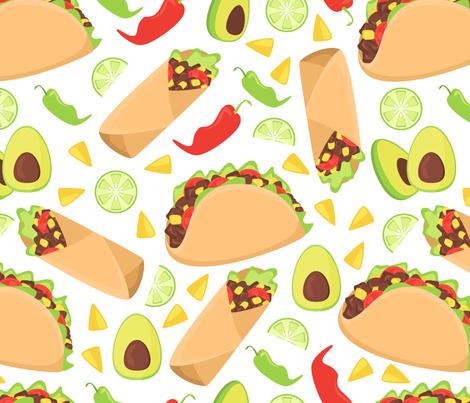 Mexican tacos food fabric by danira on Spoonflower - custom fabric