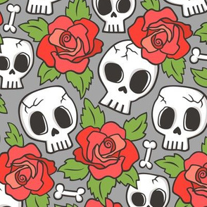 Skulls and Roses Red on Grey
