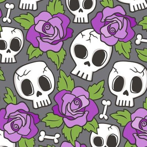 Skulls and Roses Purple on Dark Grey