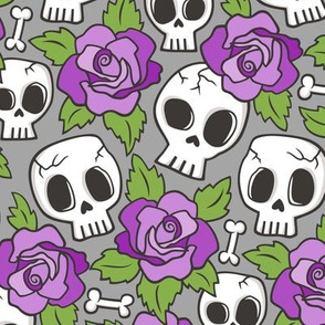 Skulls and Roses Purple on Grey