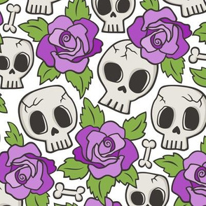 Skulls and Roses Red Purple on White