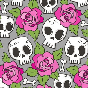 Skulls and Roses Pink on Grey