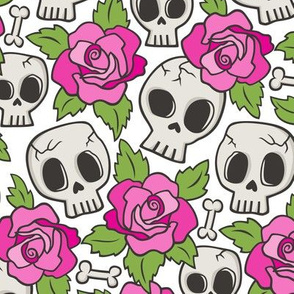 Skulls and Roses Pink on White