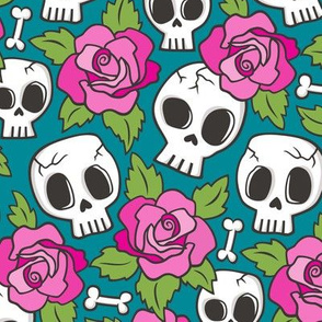 Skulls and Roses Pink on Teal