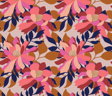 Layered modern floral on a taupe base fabric by patternanddesign on Spoonflower - custom fabric