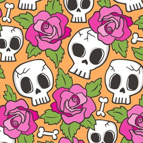 Skulls and Roses  Pink on Orange