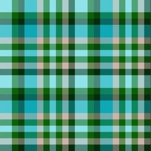 BNS8 - Tartan Plaid in Turquoise - Mauve - Pine Green