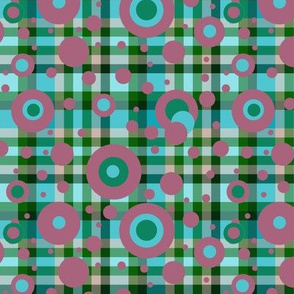 BNS8 - Polka Dot Plaid Hybrid in Turquoise - Pine Green - Mauve