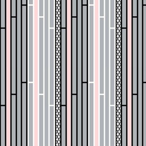Gray and Pink Striped Lattice with Black and White Stripes