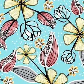 Floral Print of Wildflowers, Leaves, and Seed Pods in Aqua, Pink, Yellow