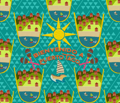 Bienvenido a Puerto Taco fabric by lkm3s on Spoonflower - custom fabric