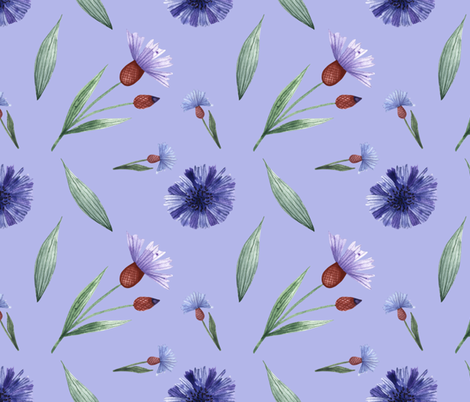Field flowers of cornflowers fabric by katrinkastem on Spoonflower - custom fabric