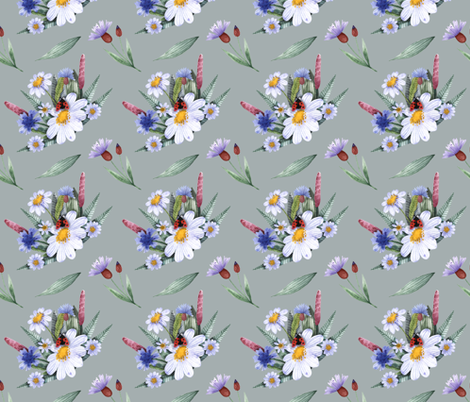 Bouquet of field herbs and flowers fabric by katrinkastem on Spoonflower - custom fabric