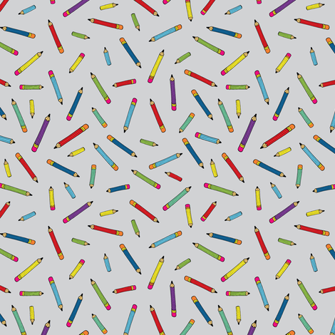 Pencil scatter - grey - Small by Cecca Designs fabric by cecca on Spoonflower - custom fabric