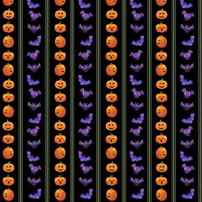 Spooky Purple Bats and Orange Pumpkins