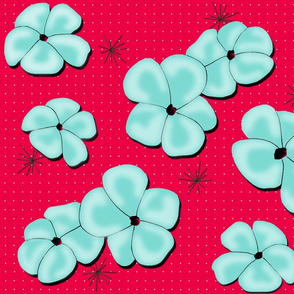 Painted Poppies Aqua on Red